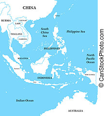 Map of Indonesia with the inscriptions of countries