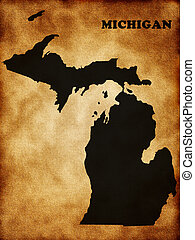 Map of Michigan state on the old texture