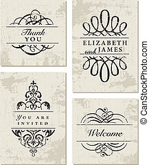 Vector Grunge Ornament Frame Set. Easy to edit. Perfect for...