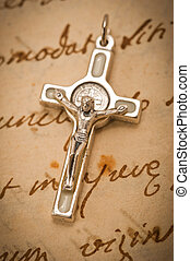 crucifix on parchment
