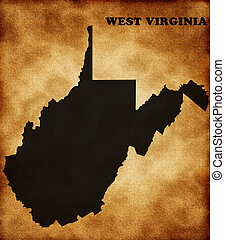 Map of west virginia state on the old texture