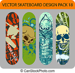 Skateboard design pack 18 - Grunge vector pack of 4...
