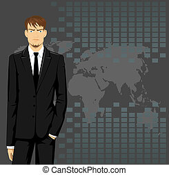 Business man - vector illustration of a business man wearing...