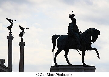 Equestrian monument to Victor Emmanuel II in Venice Square...