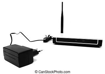 The modem and power unit. On a white background.