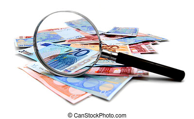 Money and magnifier for a white background.