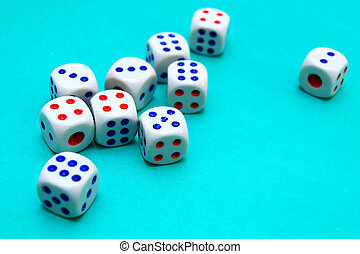 dices on cloth.