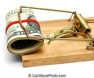 Mousetrap with money for a white background