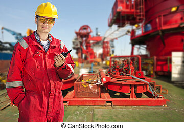 Shipping Engineer - Shipping engineer with a cb-radio on the...