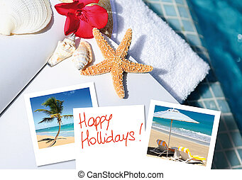 happy hollidays - open book with starfish outdoor with...