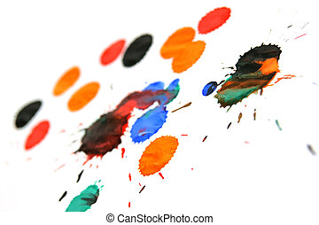 Multi-coloured splashes on a white background.