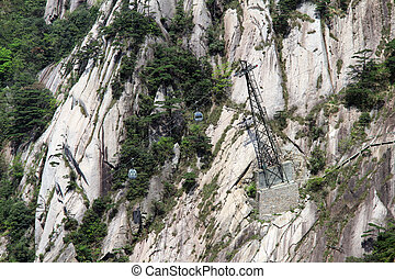 Cable car in Huangshan mountain, China