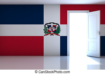 Dominican flag on empty room