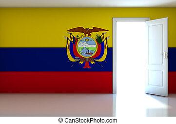 Ecuador flag on empty room