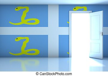 France Martinique flag on empty room