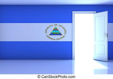 Nicaragua flag on empty room