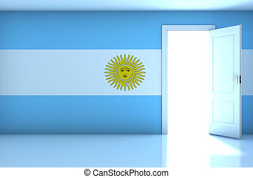 Argentina flag on empty room