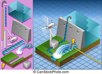 Isometric watermill and wind turbin - Detailed animation of...