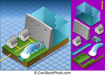 Isometric houses powered by watermi