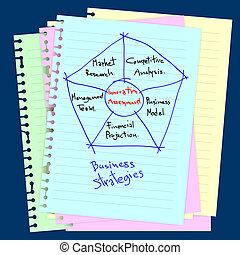 Business concept drawing on notepad