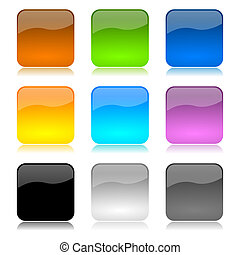 colored app buttons set - Colored and glossy app buttons set...