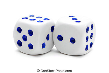 Playing dices. On a white background.