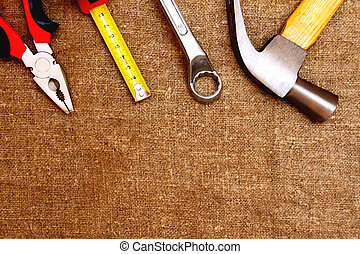 Tools on an old fabric.