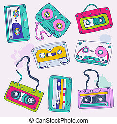 Set of retro cassette tapes Vector illustration