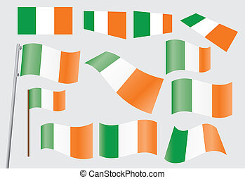 set of flags of Ireland