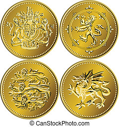 set of the British money gold coins with the image of a heraldic lion, unicorn, shield and crown, isolated on white background
