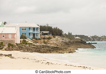 Pink and Blue Vacation Homes on Coast of Bermuda - Pink and...