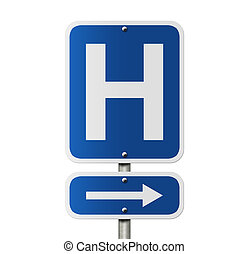 Hospital Direction Sign - An American road sign isolated on...