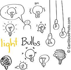 Set of Hand drawing light bulbs cartoon doodle