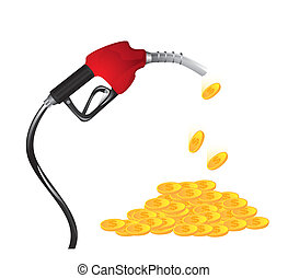 Gasoline fuel nozzle - Gasoline fuel with coins over white...