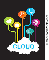 cloud communication with icons over black background vector