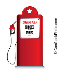 gasoline pump - red gasoline pump isolated over white...