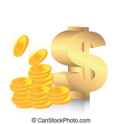 dollar sign - gold dollar sign with coins vector...