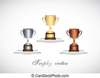 trophies vector - gold, silver and bronze trophies over...