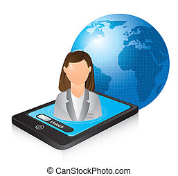 businesswoman over phone and planet. vector illustration