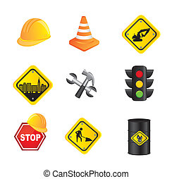 traffic signs isolated over white background vector...