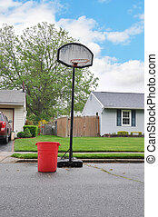Trash Day Suburban Neighborhood - Recycle trash container...