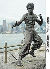 Bruce Lee statue - Statue of Bruce Lee at Avenue of Stars n...
