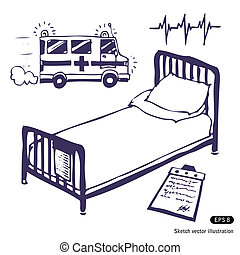Hospital bed and ambulance. Hand drawn vector illustration...