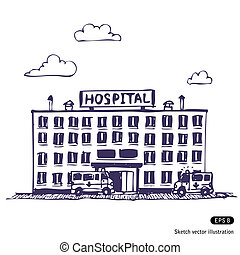 Hospital building. Hand drawn vector illustration on white