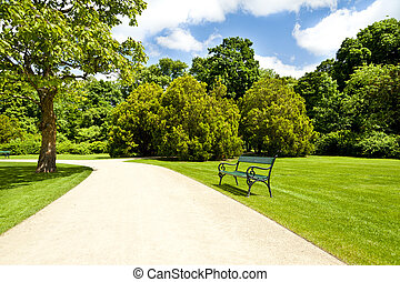 park - armchair in park with road
