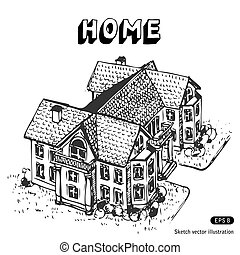 Luxury home. Hand drawn vector illustration on white