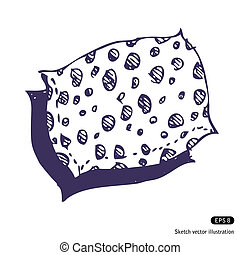 Pillow Hand drawn vector isolated on white