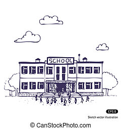 School building Hand drawn vector isolated on white