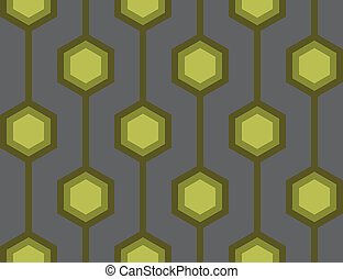 Retro Hexagons Green Seamless Tile - Seamless tile with a...