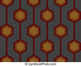 Retro Hexagons Red Seamless Tile